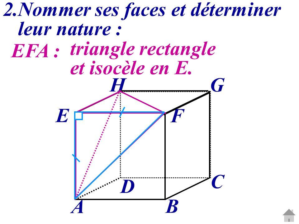 2.Nommer ses faces et déterminer leur nature : EFA : triangle rectangle et isocèle en E. C G A B D E H F