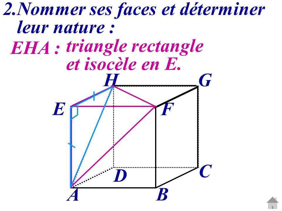 2.Nommer ses faces et déterminer leur nature : EHA : triangle rectangle et isocèle en E. C G A B D E H F