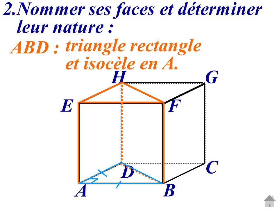 C G A B D E H F 2.Nommer ses faces et déterminer leur nature : ABD : triangle rectangle et isocèle en A.