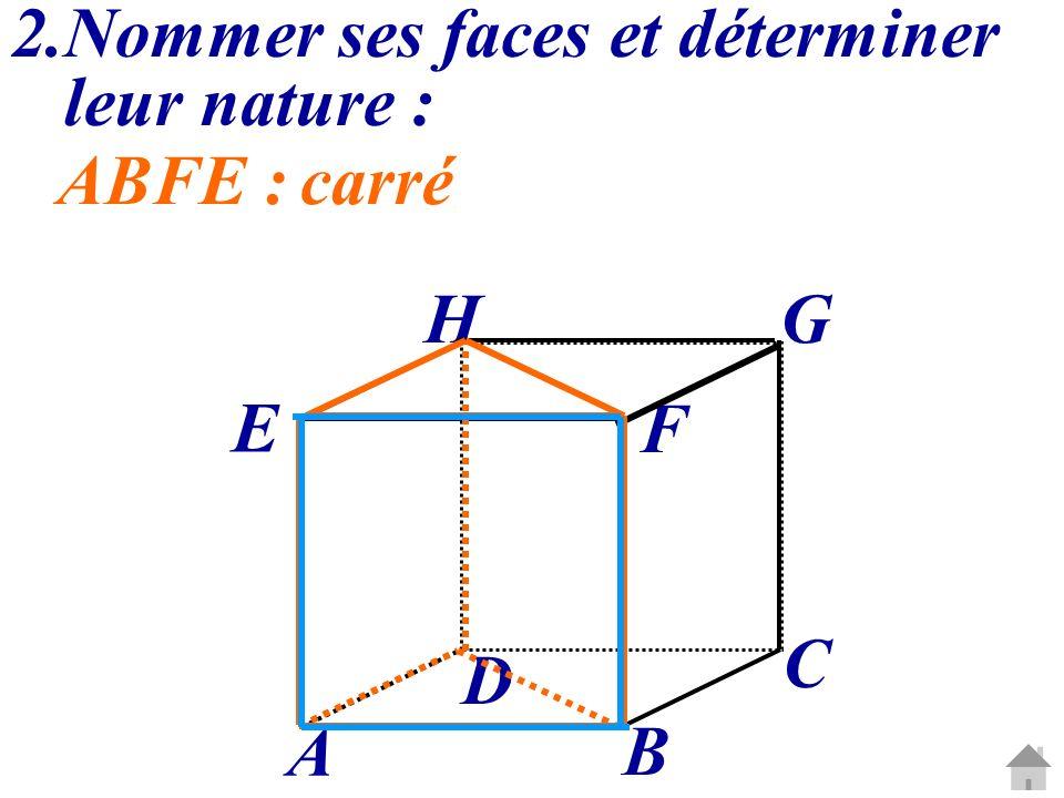 C G A B D E H F 2.Nommer ses faces et déterminer leur nature : ABFE :carré