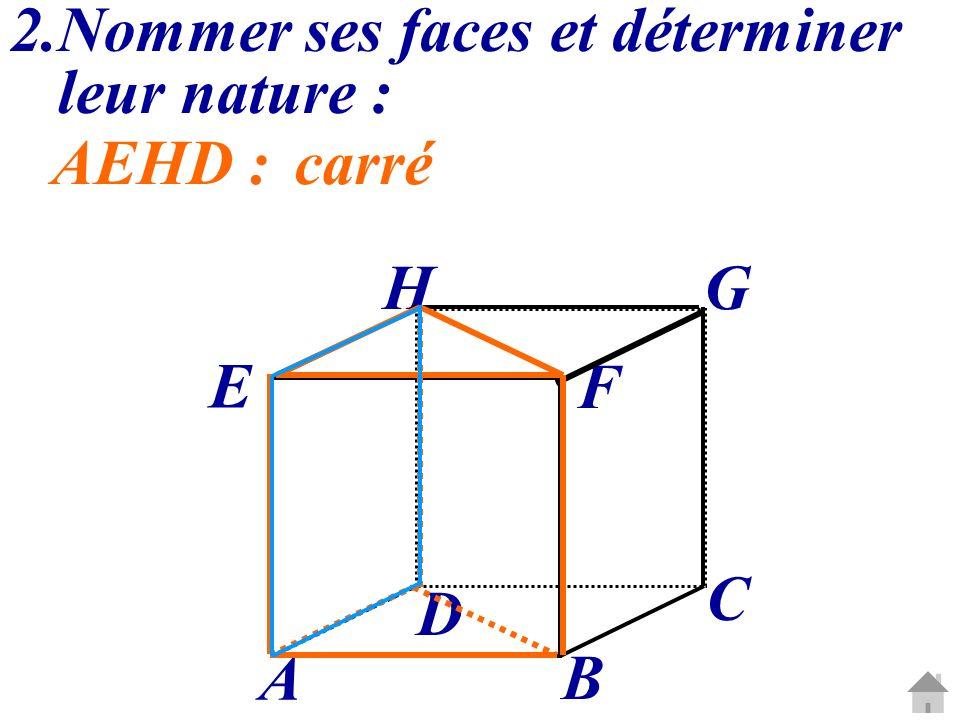 C G A B D E H F 2.Nommer ses faces et déterminer leur nature : AEHD :carré