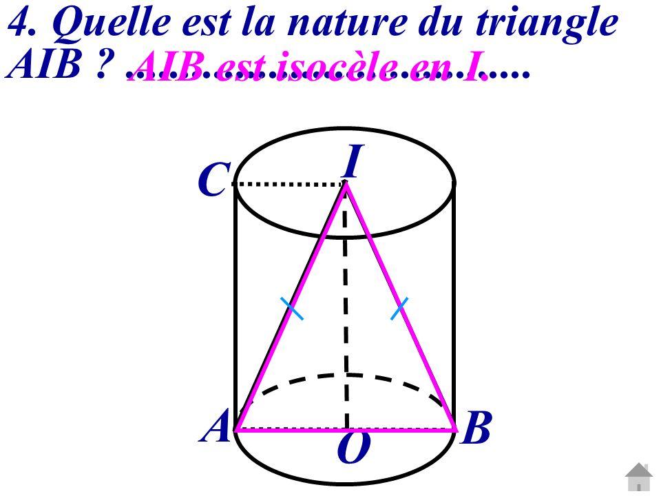 4. Quelle est la nature du triangle AIB ?..................................... AIB est isocèle en I. O I A B C