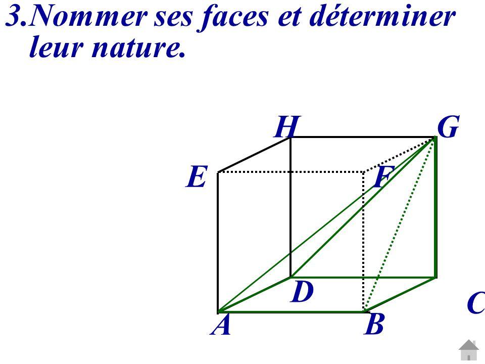 2.Nommer ses faces et déterminer leur nature : AHF : triangle isocèle en A. C G A B D E H F