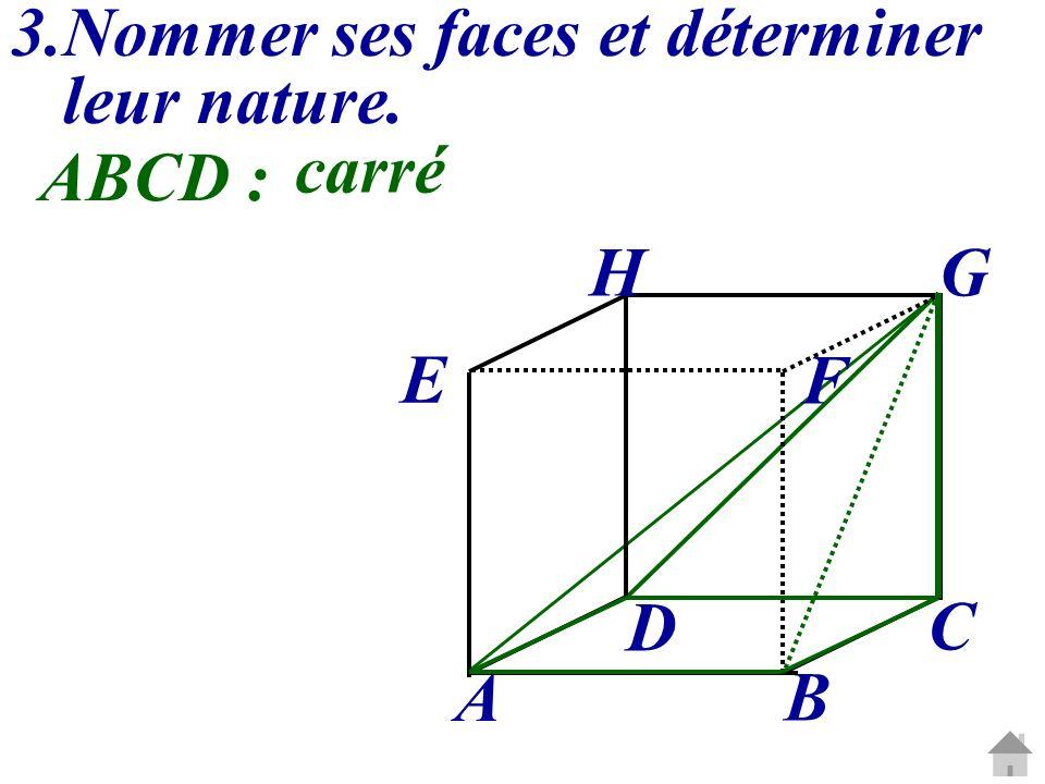 3.Nommer ses faces et déterminer leur nature. C G A B D E H F ABCD : carré