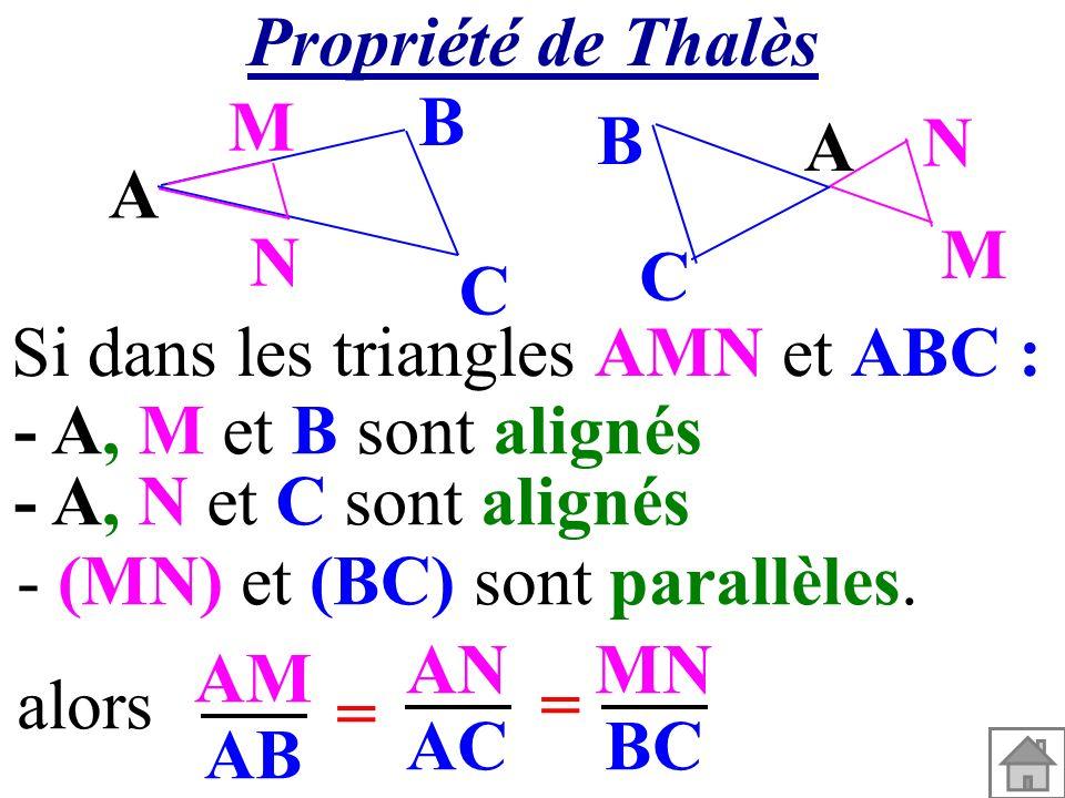 A M N C B A M N C B Si dans les triangles AMN et ABC : AM AB AN AC alors= = MN BC - (MN) et (BC) sont parallèles. - A, M et B sont alignés - A, N et C