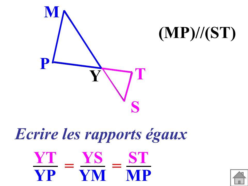 Ecrire les rapports égaux YT YP YS YM == ST MP Y S T P M (MP)//(ST)