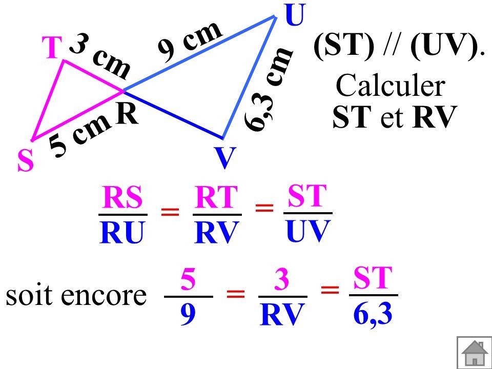 soit encore 5959 3 RV = = ST 6,3 (ST) // (UV). T R S U V 3 cm 5 cm 9 cm 6,3 cm RS RU RT RV = = ST UV Calculer ST et RV