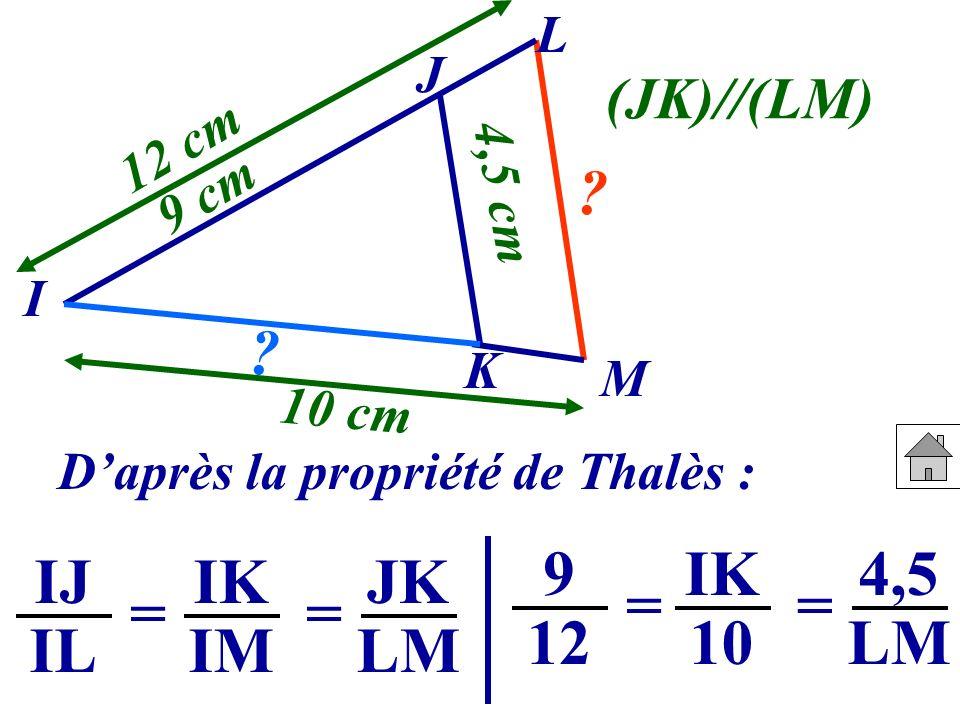 Daprès la propriété de Thalès : J I K M 9 cm 10 cm 4,5 cm 12 cm ? ? (JK)//(LM) IJ IL IK IM == JK LM 9 12 IK 10 == 4,5 LM L