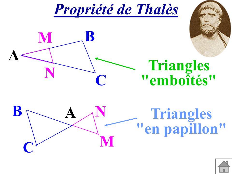 Propriété de Thalès A M N C B A M N C B Triangles