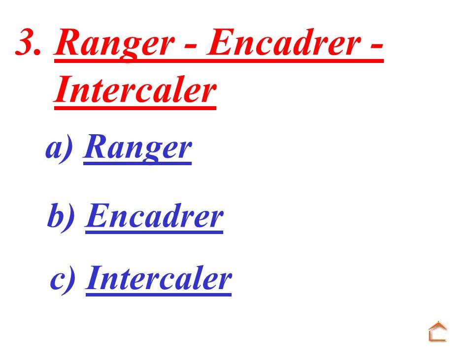 3. Ranger - Encadrer - Intercaler a) Ranger b) Encadrer c) Intercaler