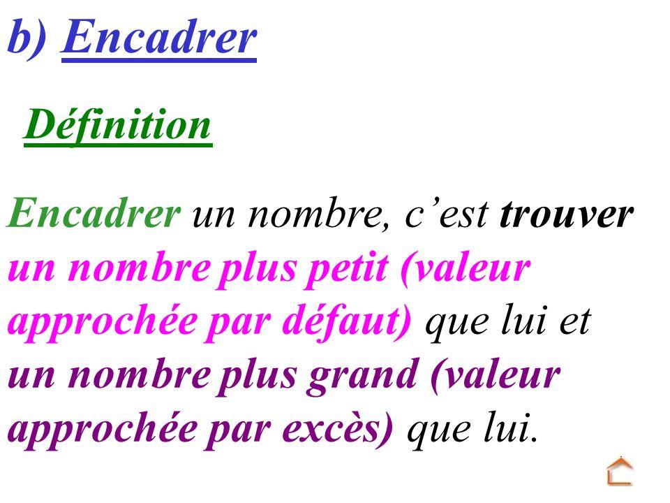 b) Encadrer Définition Encadrer un nombre, cest trouver un nombre plus petit (valeur approchée par défaut) que lui et un nombre plus grand (valeur app