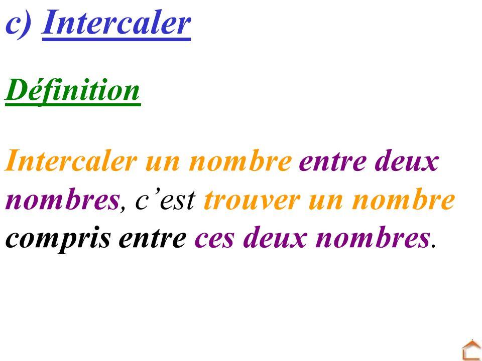 c) Intercaler Définition Intercaler un nombre entre deux nombres, cest trouver un nombre compris entre ces deux nombres.