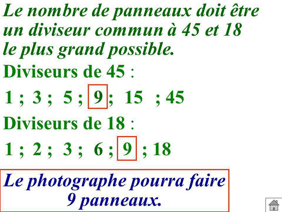 Le nombre de panneaux doit être un diviseur commun à 45 et 18 le plus grand possible.