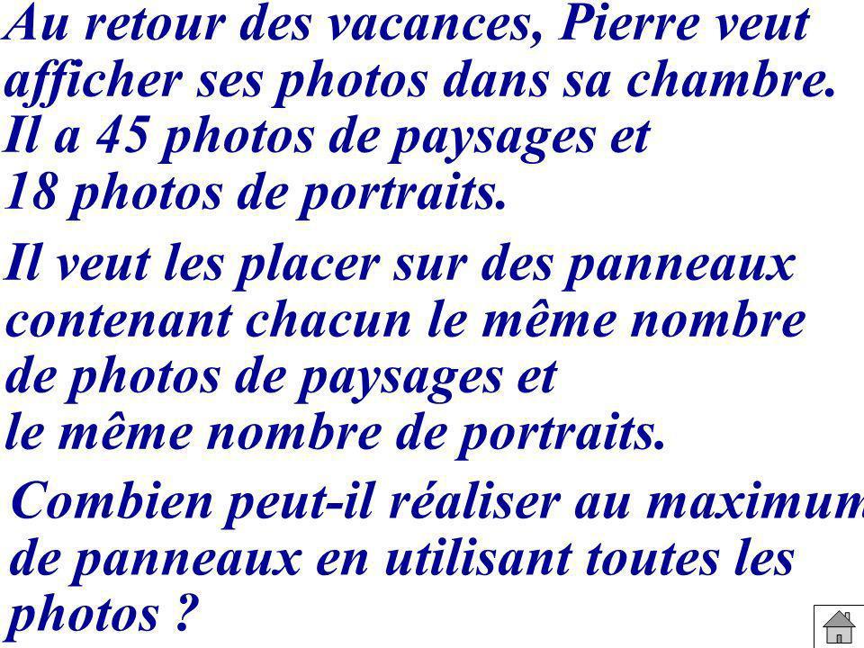 Au retour des vacances, Pierre veut afficher ses photos dans sa chambre.