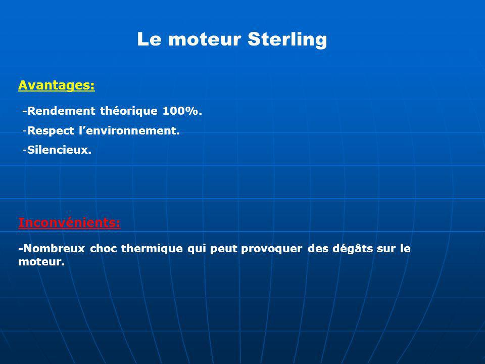 Le moteur Sterling Avantages: Inconvénients: -Rendement théorique 100%. -Respect lenvironnement. -Silencieux. -Nombreux choc thermique qui peut provoq