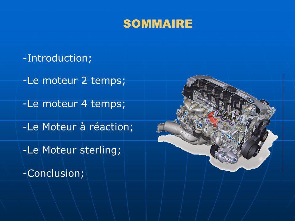 SOMMAIRE -Introduction; -Le moteur 2 temps; -Le moteur 4 temps; -Le Moteur à réaction; -Le Moteur sterling; -Conclusion;