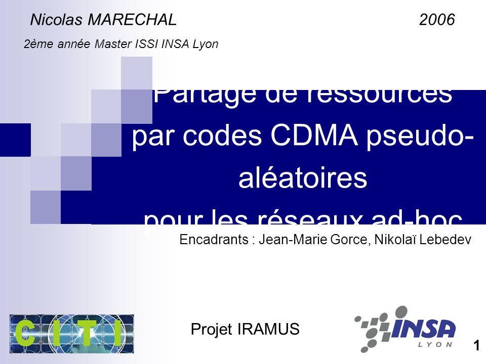 Partage de ressources par codes CDMA pseudo- aléatoires pour les réseaux ad-hoc Nicolas MARECHAL 2006 2ème année Master ISSI INSA Lyon Encadrants : Jean-Marie Gorce, Nikolaï Lebedev 1 Projet IRAMUS
