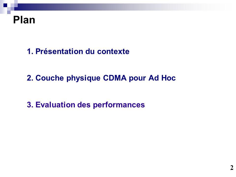 Plan 1. Présentation du contexte 2.Couche physique CDMA pour Ad Hoc 3.Evaluation des performances 2