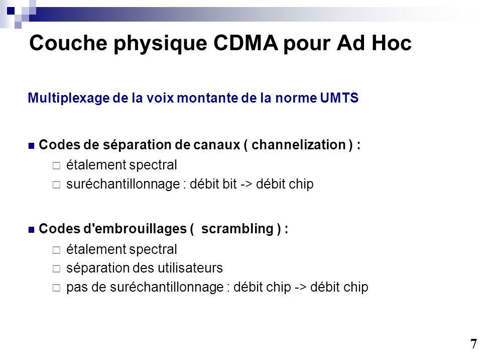 Couche physique CDMA pour Ad Hoc Multiplexage de la voix montante de la norme UMTS Codes de séparation de canaux ( channelization ) : étalement spectral suréchantillonnage : débit bit -> débit chip Codes d embrouillages ( scrambling ) : étalement spectral séparation des utilisateurs pas de suréchantillonnage : débit chip -> débit chip 7