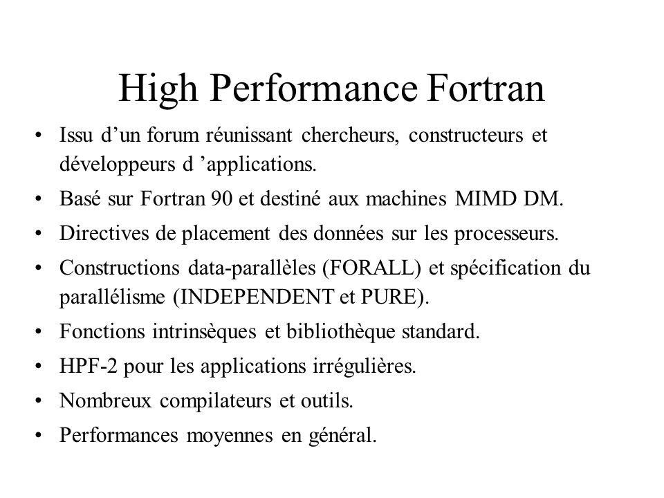 High Performance Fortran Issu dun forum réunissant chercheurs, constructeurs et développeurs d applications. Basé sur Fortran 90 et destiné aux machin