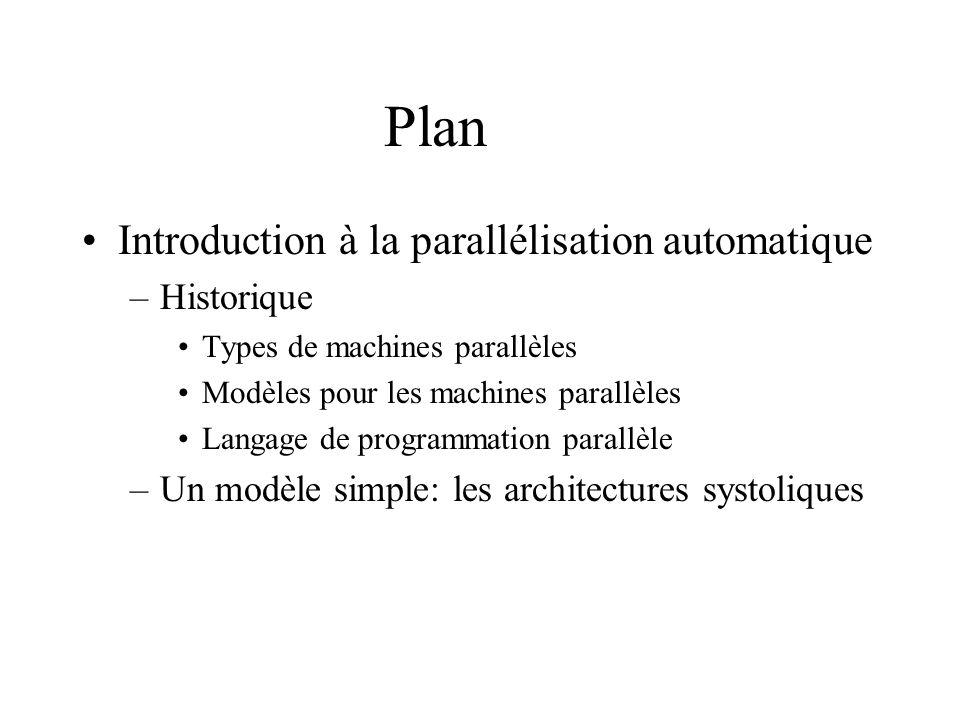 Historique Classification des machines parallèles (Flynn) –En fonction du contrôle de séquences dinstrutions –Single Instruction Multiple Data : SIMD –Multiple Instruction Multiple Data : MIMD –En fonction de lorganisation de la mémoire –Shared Memory: SM –Distributed Memory: DM