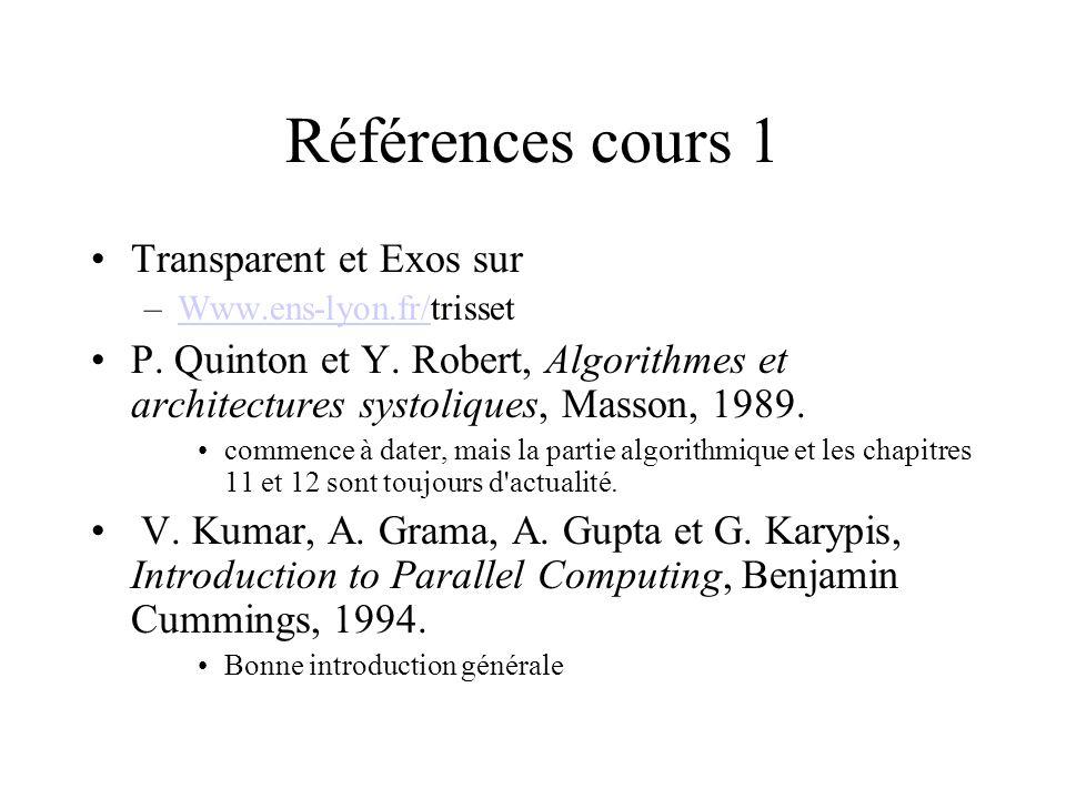 Références cours 1 Transparent et Exos sur –Www.ens-lyon.fr/trissetWww.ens-lyon.fr/ P. Quinton et Y. Robert, Algorithmes et architectures systoliques,