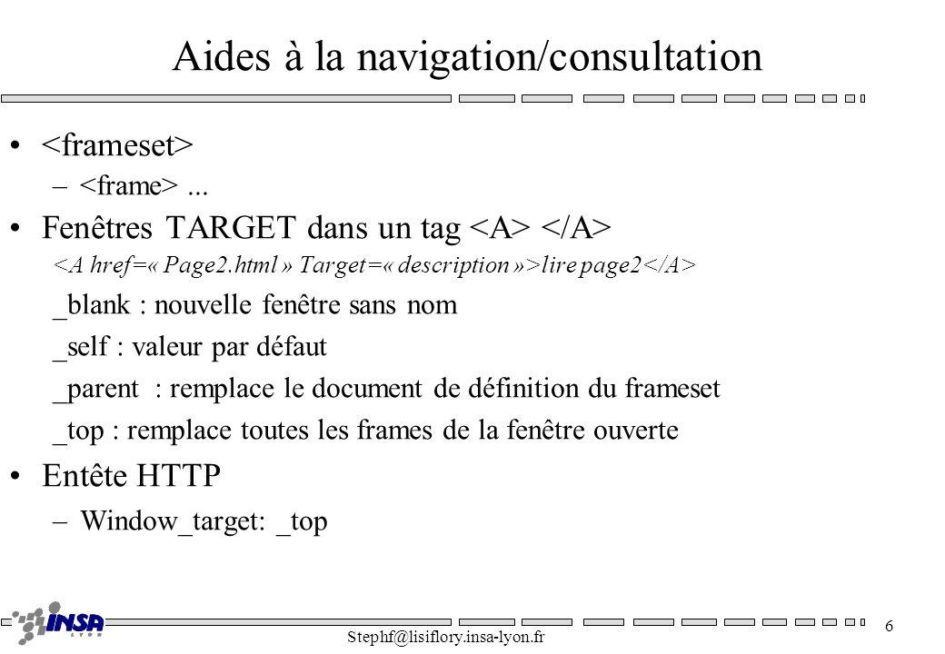 Stephf@lisiflory.insa-lyon.fr 6 Aides à la navigation/consultation –... Fenêtres TARGET dans un tag lire page2 _blank : nouvelle fenêtre sans nom _sel