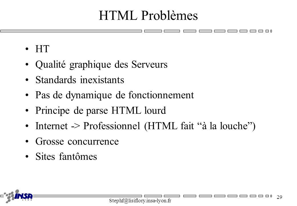 Stephf@lisiflory.insa-lyon.fr 29 HTML Problèmes HT Qualité graphique des Serveurs Standards inexistants Pas de dynamique de fonctionnement Principe de parse HTML lourd Internet -> Professionnel (HTML fait à la louche) Grosse concurrence Sites fantômes