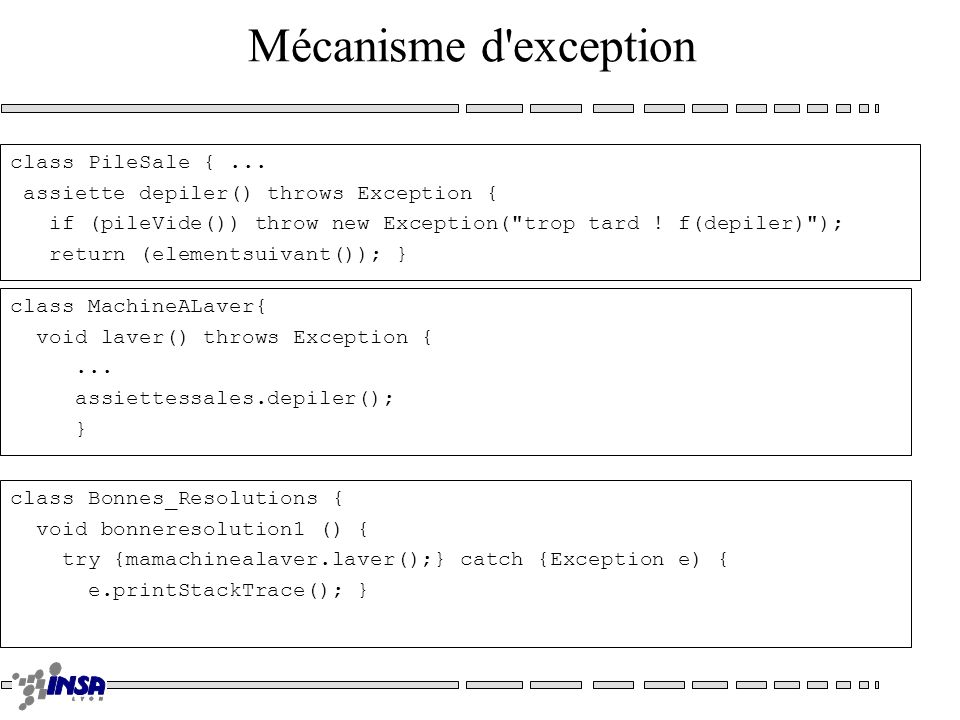 Mécanisme d'exception class PileSale {... assiette depiler() throws Exception { if (pileVide()) throw new Exception(