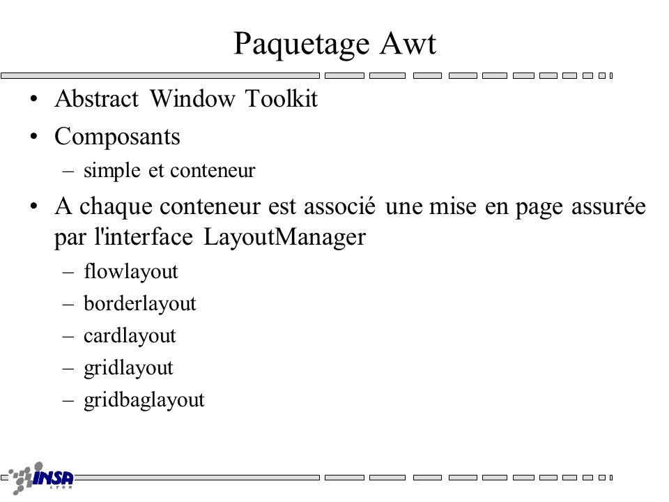 Paquetage Awt Abstract Window Toolkit Composants –simple et conteneur A chaque conteneur est associé une mise en page assurée par l'interface LayoutMa