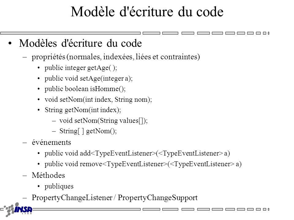 Modèle d'écriture du code Modèles d'écriture du code –propriétés (normales, indexées, liées et contraintes) public integer getAge( ); public void setA