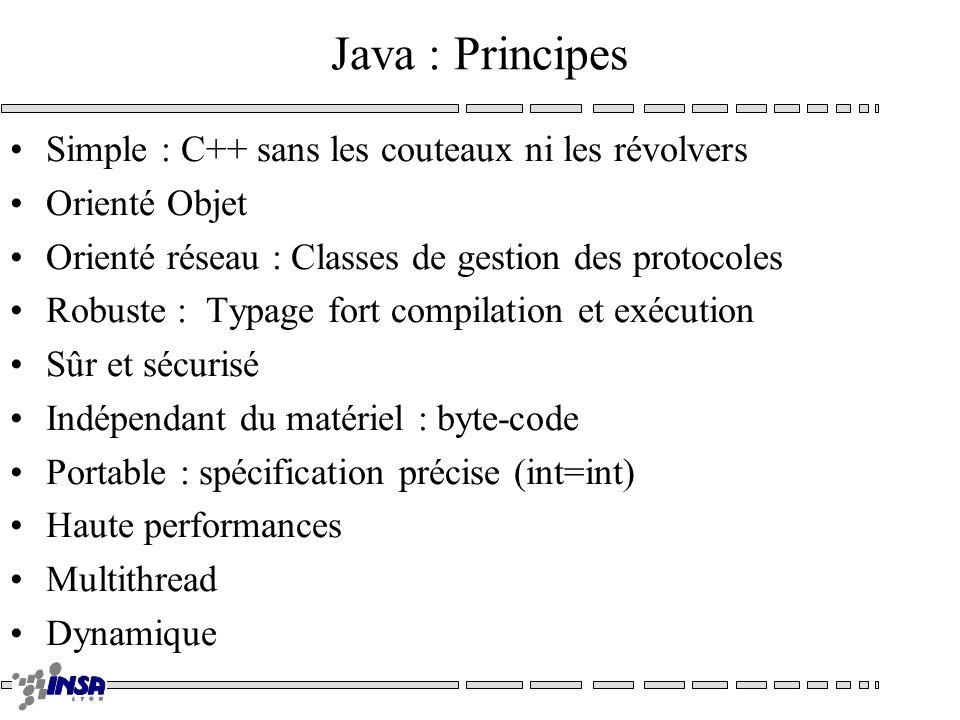 Java : Principes Simple : C++ sans les couteaux ni les révolvers Orienté Objet Orienté réseau : Classes de gestion des protocoles Robuste : Typage for