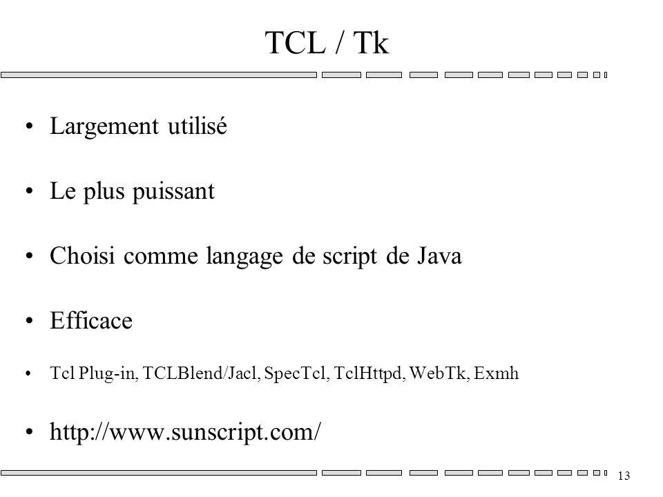13 TCL / Tk Largement utilisé Le plus puissant Choisi comme langage de script de Java Efficace Tcl Plug-in, TCLBlend/Jacl, SpecTcl, TclHttpd, WebTk, Exmh http://www.sunscript.com/