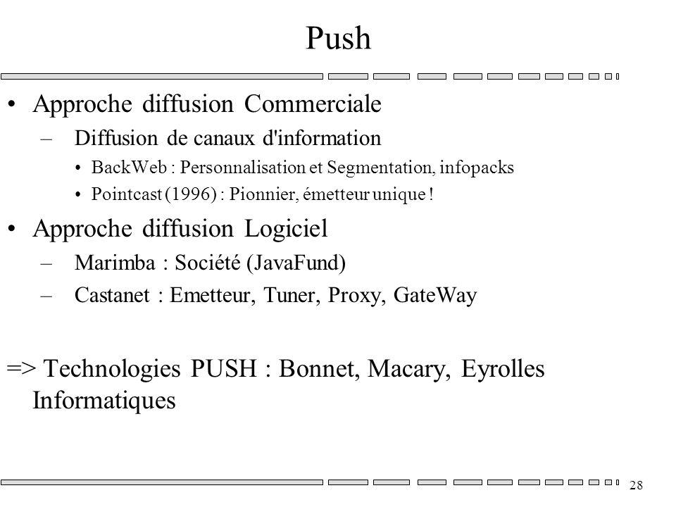 28 Push Approche diffusion Commerciale –Diffusion de canaux d information BackWeb : Personnalisation et Segmentation, infopacks Pointcast (1996) : Pionnier, émetteur unique .