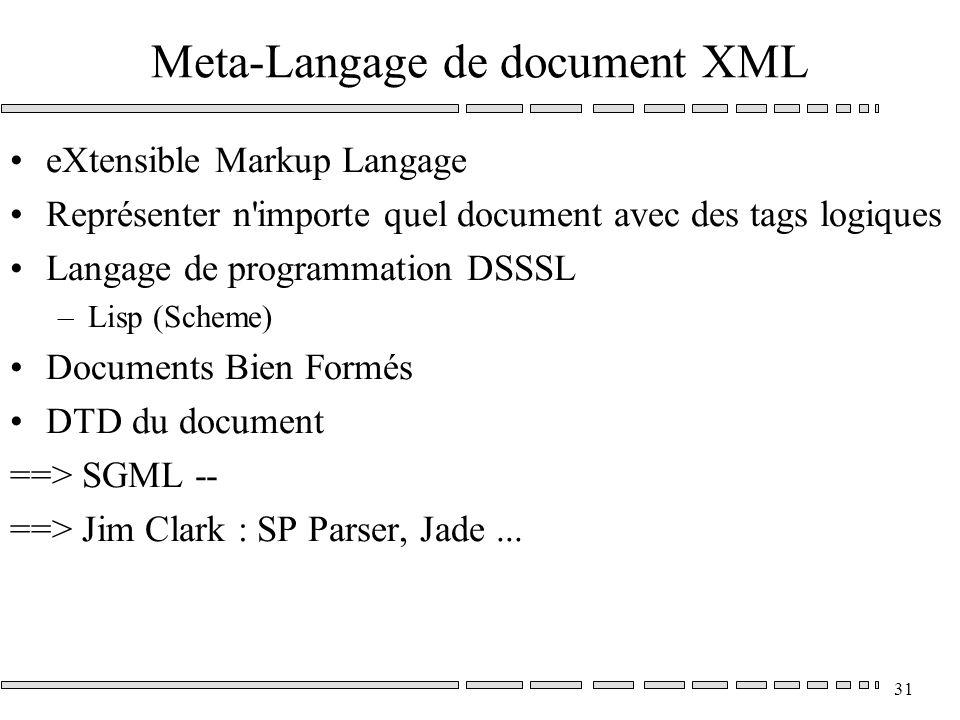 31 Meta-Langage de document XML eXtensible Markup Langage Représenter n importe quel document avec des tags logiques Langage de programmation DSSSL –Lisp (Scheme) Documents Bien Formés DTD du document ==> SGML -- ==> Jim Clark : SP Parser, Jade...