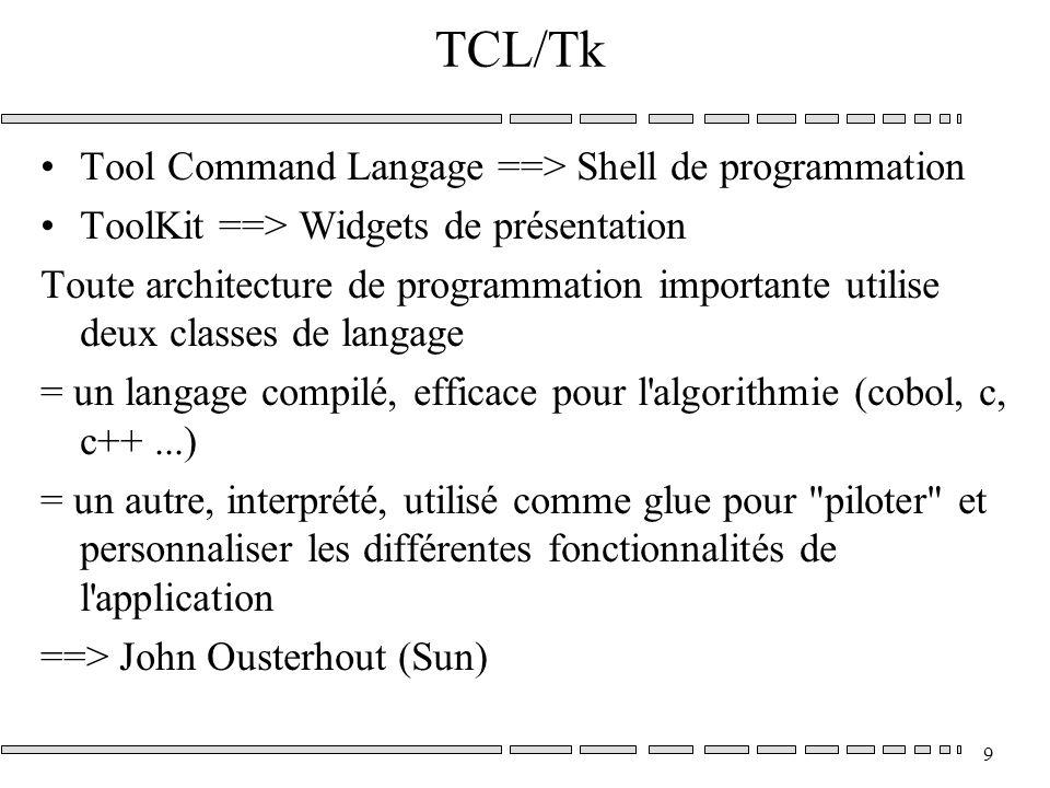 9 TCL/Tk Tool Command Langage ==> Shell de programmation ToolKit ==> Widgets de présentation Toute architecture de programmation importante utilise deux classes de langage = un langage compilé, efficace pour l algorithmie (cobol, c, c++...) = un autre, interprété, utilisé comme glue pour piloter et personnaliser les différentes fonctionnalités de l application ==> John Ousterhout (Sun)
