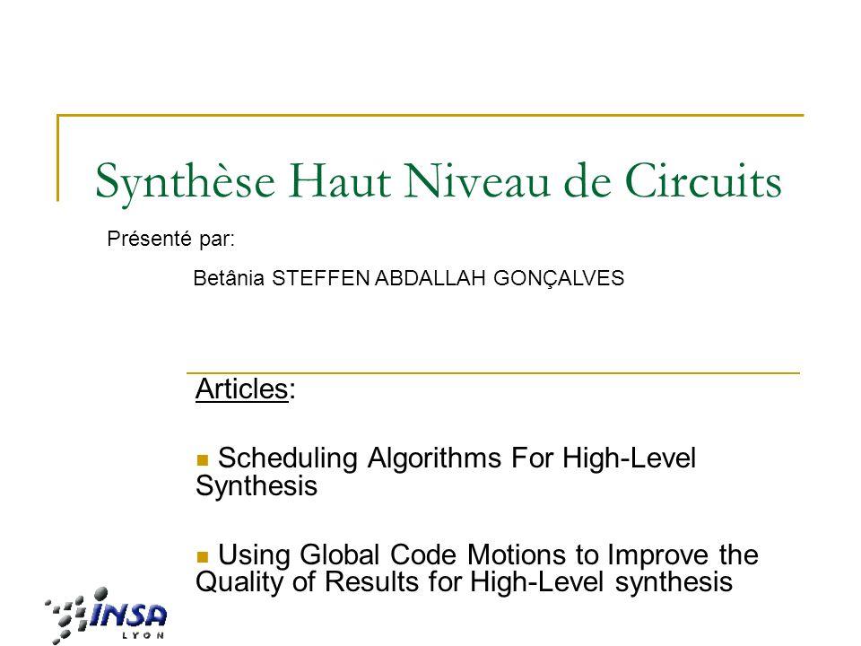 Synthèse Haut Niveau de Circuits 32 Résultats Expérimentaux OBS: Le multiplicateur (*) sexécute en 2 cycles Le diviseur (/) sexécute en 5 cycles Tous les autres opérations sexécutent en 1 cycle