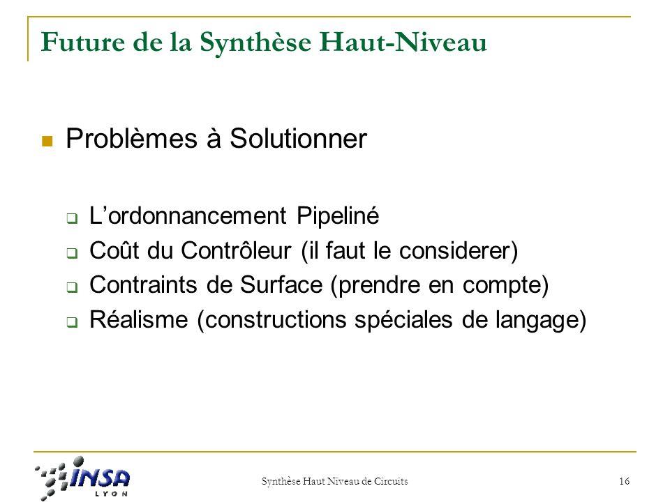 Synthèse Haut Niveau de Circuits 16 Future de la Synthèse Haut-Niveau Problèmes à Solutionner Lordonnancement Pipeliné Coût du Contrôleur (il faut le considerer) Contraints de Surface (prendre en compte) Réalisme (constructions spéciales de langage)