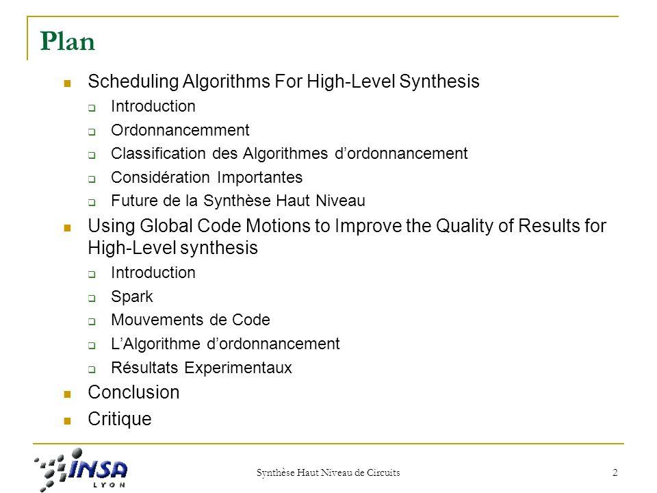 Scheduling Algorithms For High-Level Sysnthesis Auteurs Sriram Govindarajan