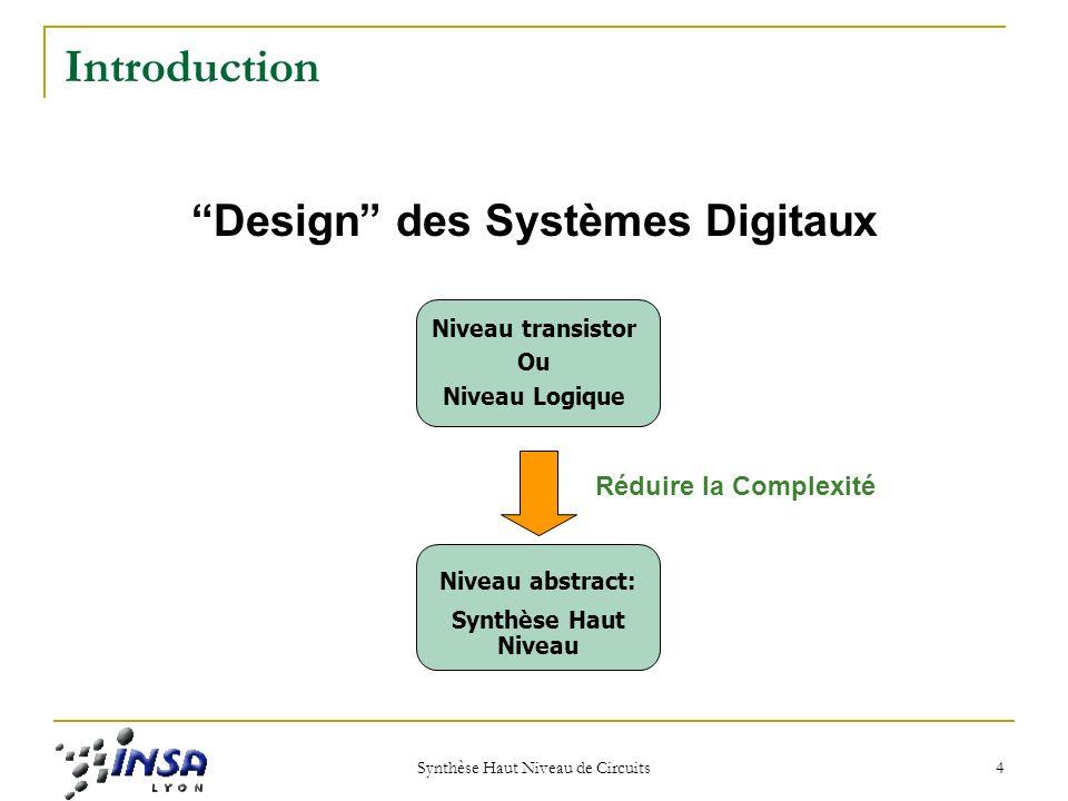 Synthèse Haut Niveau de Circuits 4 Introduction Design des Systèmes Digitaux Niveau transistor Ou Niveau Logique Niveau abstract: Synthèse Haut Niveau Réduire la Complexité