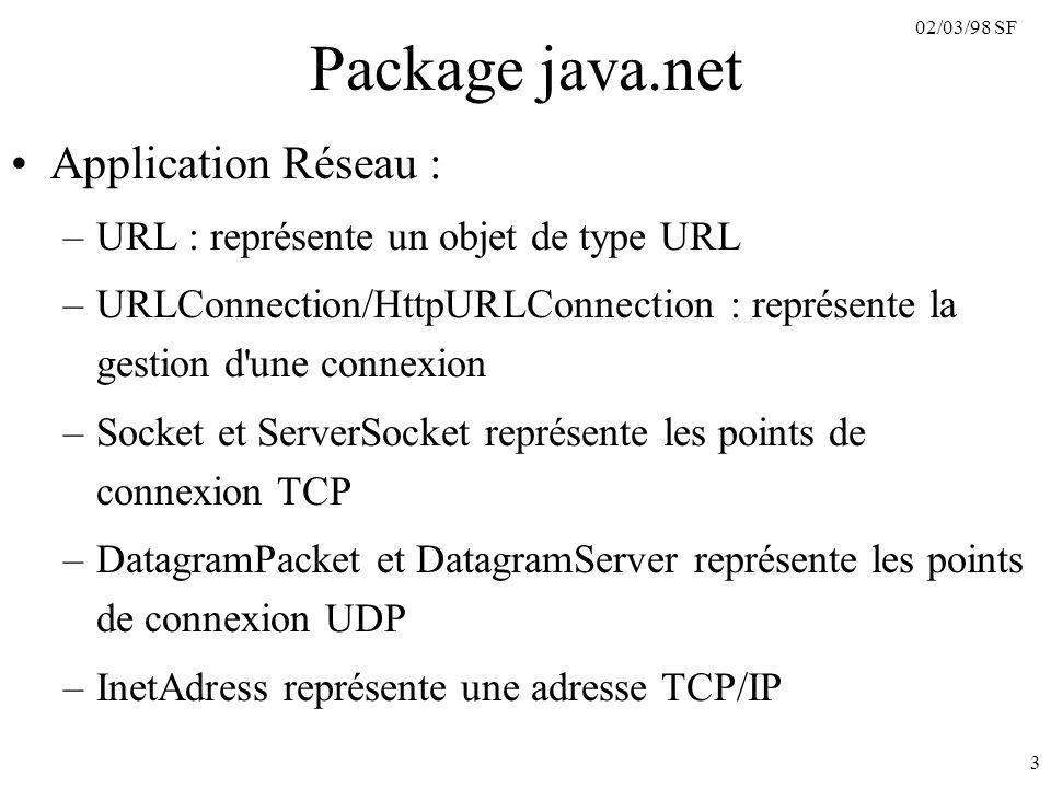 02/03/98 SF 3 Package java.net Application Réseau : –URL : représente un objet de type URL –URLConnection/HttpURLConnection : représente la gestion d une connexion –Socket et ServerSocket représente les points de connexion TCP –DatagramPacket et DatagramServer représente les points de connexion UDP –InetAdress représente une adresse TCP/IP