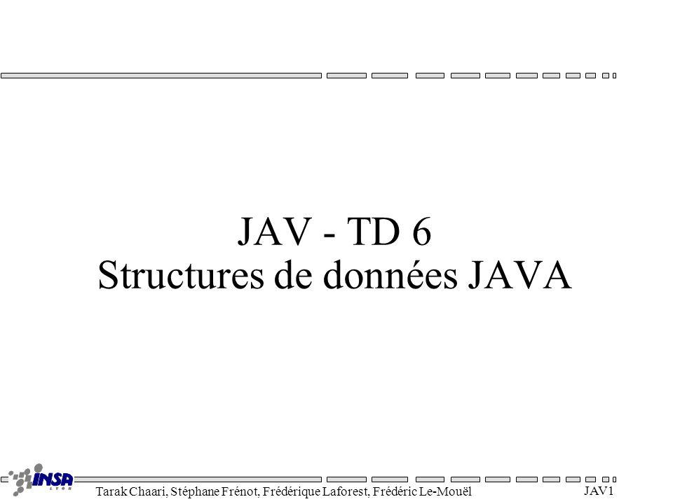 Tarak Chaari, Stéphane Frénot, Frédérique Laforest, Frédéric Le-Mouël JAV1 JAV - TD 6 Structures de données JAVA