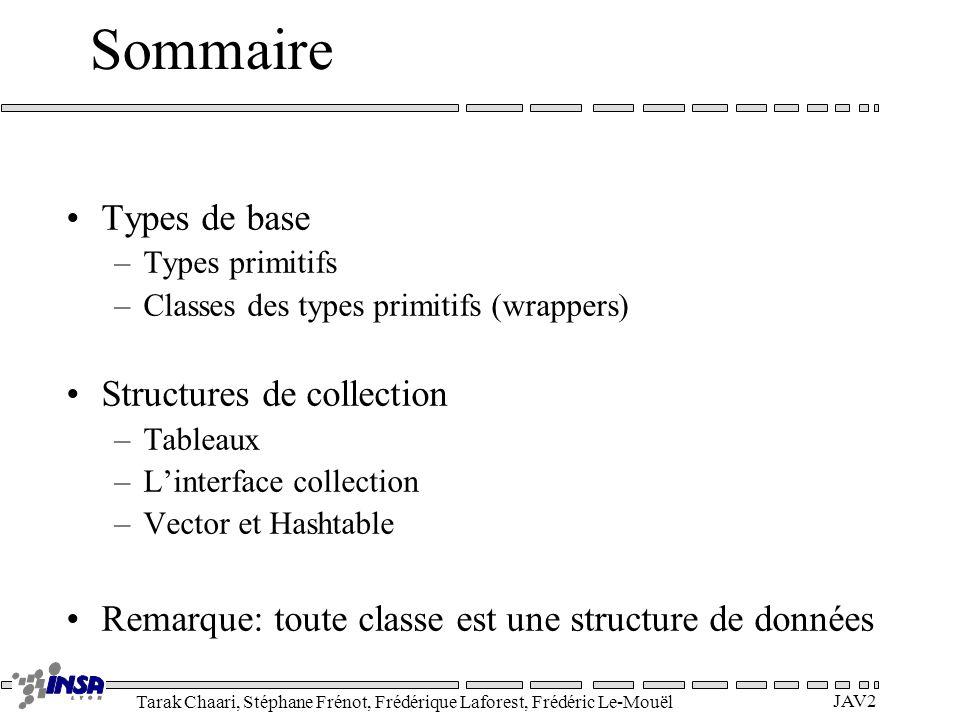 Tarak Chaari, Stéphane Frénot, Frédérique Laforest, Frédéric Le-Mouël JAV2 Sommaire Types de base –Types primitifs –Classes des types primitifs (wrapp