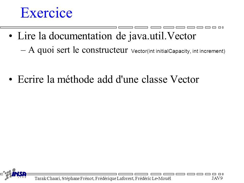Tarak Chaari, Stéphane Frénot, Frédérique Laforest, Frédéric Le-Mouël JAV9 Exercice Lire la documentation de java.util.Vector –A quoi sert le construc