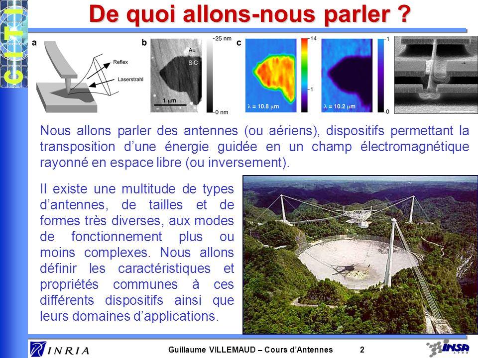 Guillaume VILLEMAUD – Cours dAntennes 2 De quoi allons-nous parler ? Nous allons parler des antennes (ou aériens), dispositifs permettant la transposi