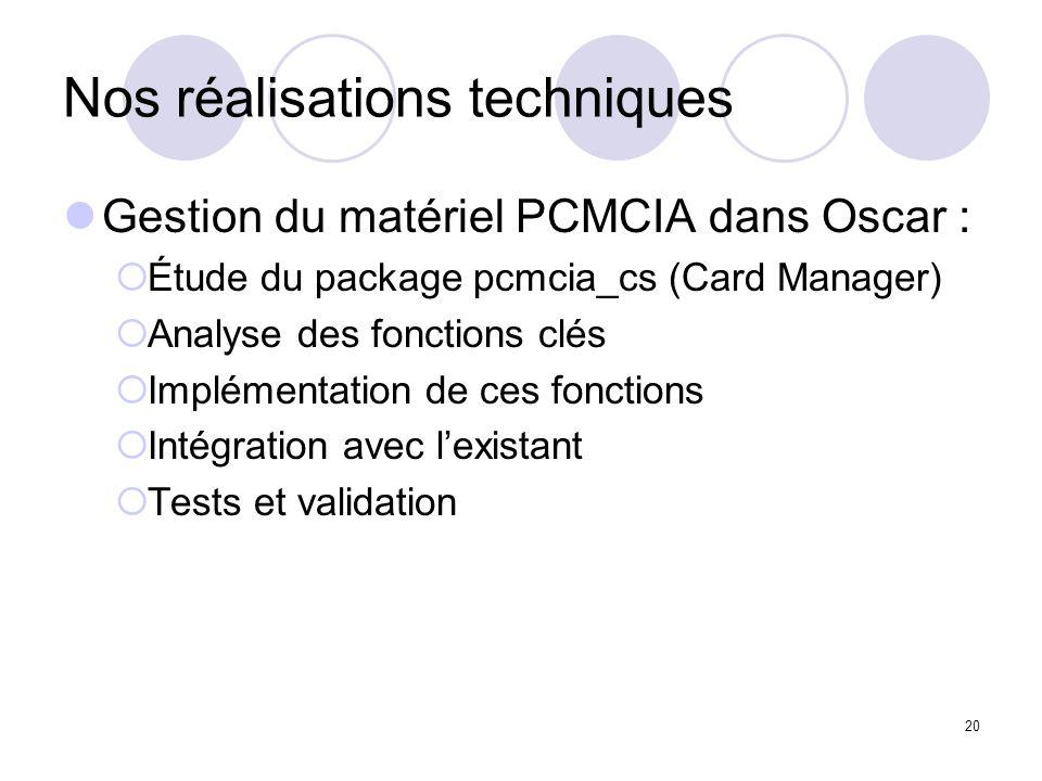 20 Nos réalisations techniques Gestion du matériel PCMCIA dans Oscar : Étude du package pcmcia_cs (Card Manager) Analyse des fonctions clés Implémenta