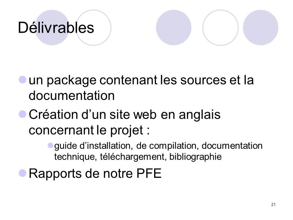 21 Délivrables un package contenant les sources et la documentation Création dun site web en anglais concernant le projet : guide dinstallation, de co