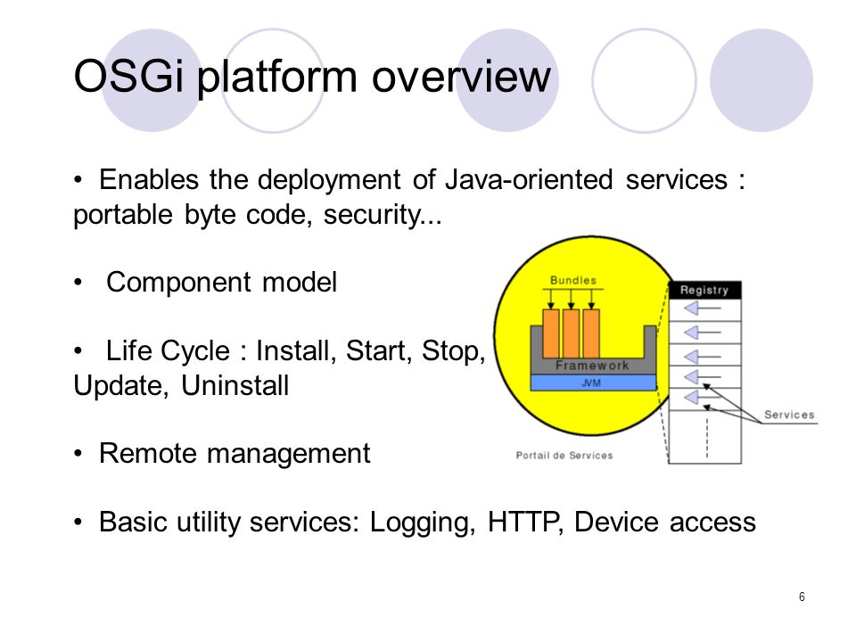 6 OSGi platform overview Enables the deployment of Java-oriented services : portable byte code, security...