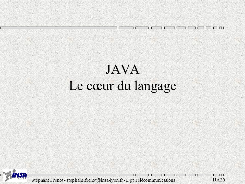 Stéphane Frénot - stephane.frenot@insa-lyon.fr - Dpt Télécommunications IJA20 JAVA Le cœur du langage