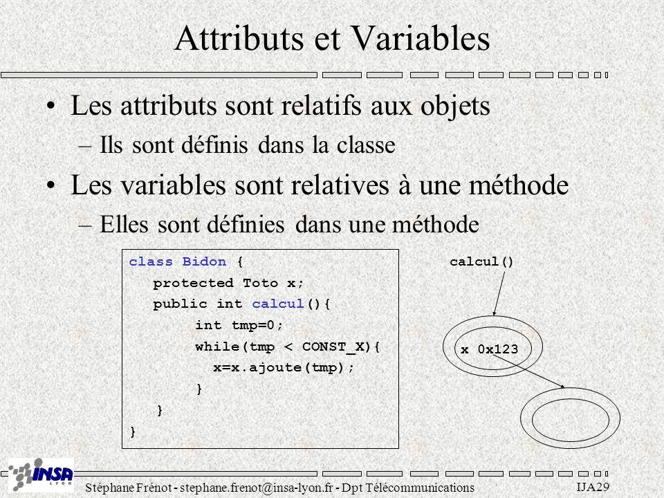 Stéphane Frénot - stephane.frenot@insa-lyon.fr - Dpt Télécommunications IJA29 Attributs et Variables Les attributs sont relatifs aux objets –Ils sont définis dans la classe Les variables sont relatives à une méthode –Elles sont définies dans une méthode class Bidon { protected Toto x; public int calcul(){ int tmp=0; while(tmp < CONST_X){ x=x.ajoute(tmp); } x 0x123 calcul()